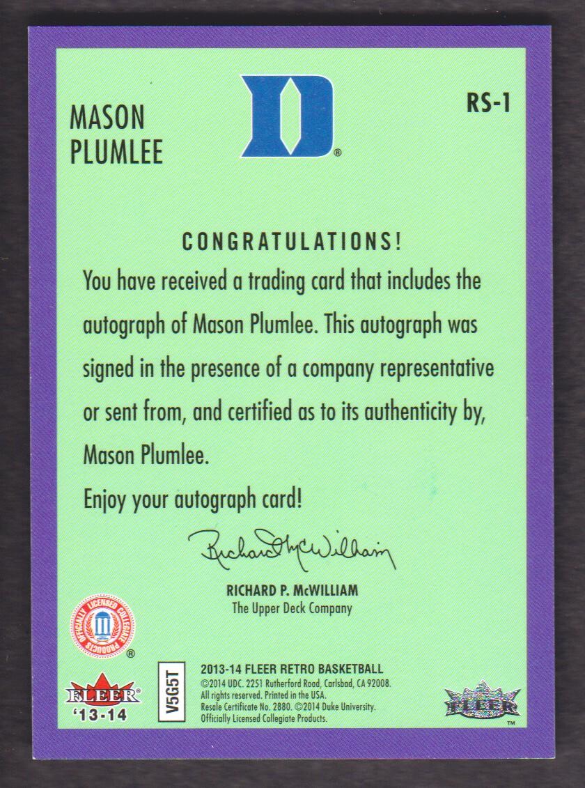 2013-14 Fleer Retro '92-93 Fleer Rookie Sensations Autographs #RS1 Mason Plumlee C back image