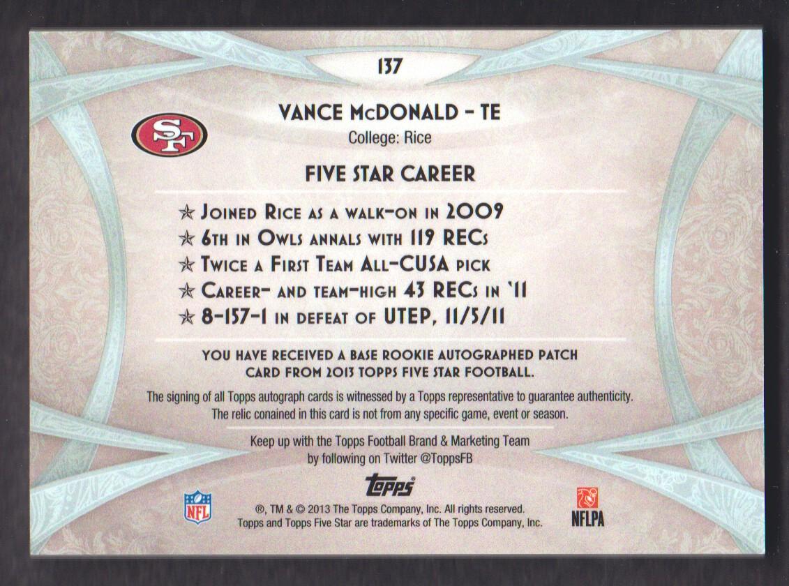 2013 Topps Five Star Rookie Autographed Patch Gold #137 Vance McDonald JSY AU back image