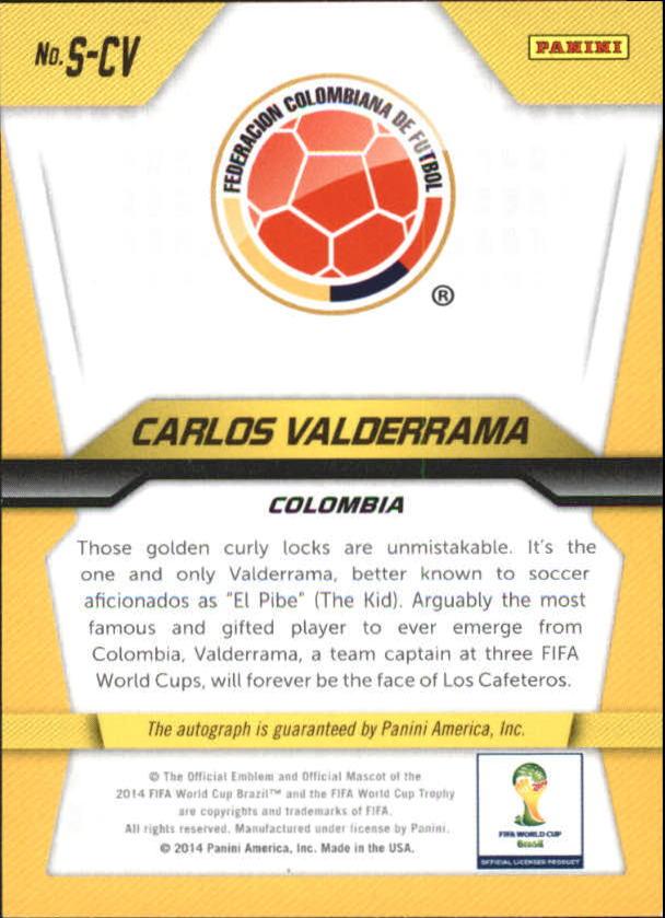 2014 Panini Prizm World Cup Signatures #SCV Carlos Valderrama back image