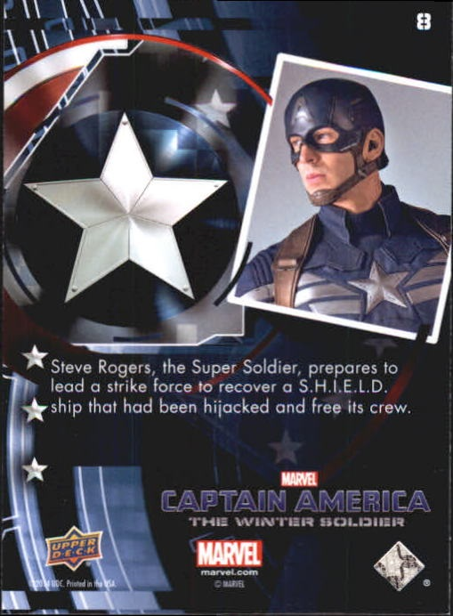 2014 Captain America The Winter Soldier Silver Foil #8 Steve Rogers, the Super Soldier, prepares to lead back image