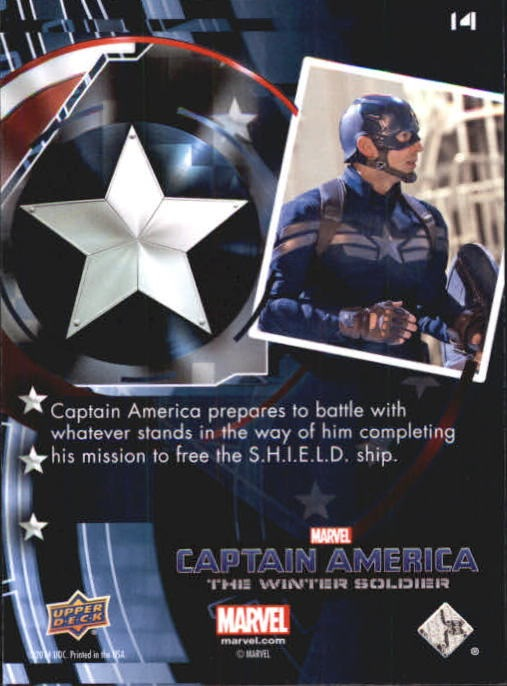 2014 Captain America The Winter Soldier Silver Foil #14 Captain America prepares to battle with whatever s back image