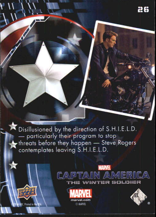 2014 Captain America The Winter Soldier Silver Foil #26 Disillusioned by the direction of S.H.I.E.L.D. - p back image