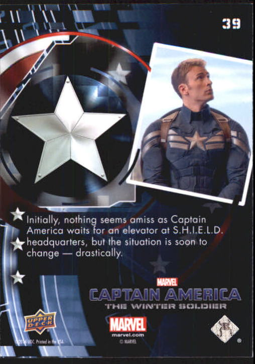 2014 Captain America The Winter Soldier Silver Foil #39 Initially, nothing seems amiss as Captain America back image