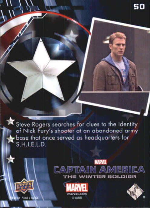 2014 Captain America The Winter Soldier Silver Foil #50 Steve Rogers searches for clues to the identify of back image