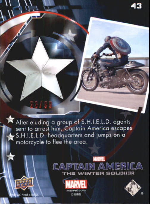 2014 Captain America The Winter Soldier Red Foil #43 After eluding a group of S.H.I.E.L.D. agents sent back image