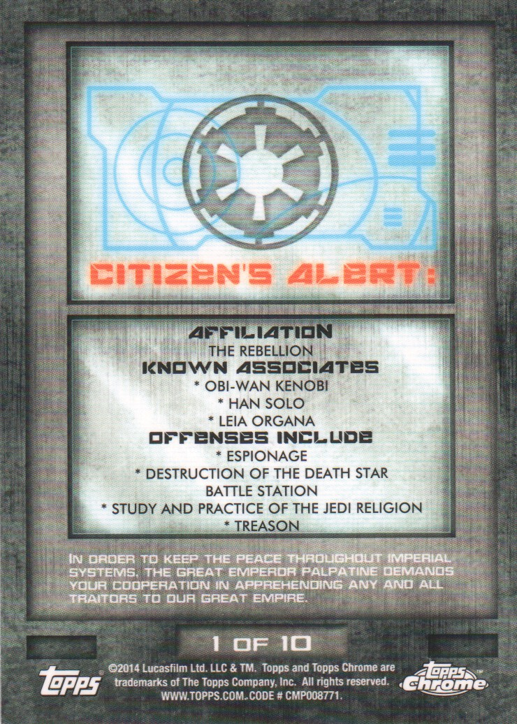 2014-Topps-Star-Wars-Chrome-Perspectives-Inserts-Trading-Cards-Pick-From-List miniature 3