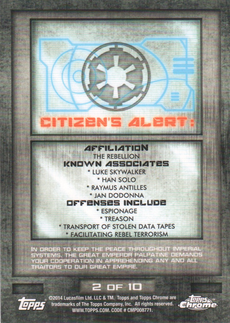 2014-Topps-Star-Wars-Chrome-Perspectives-Inserts-Trading-Cards-Pick-From-List miniature 5