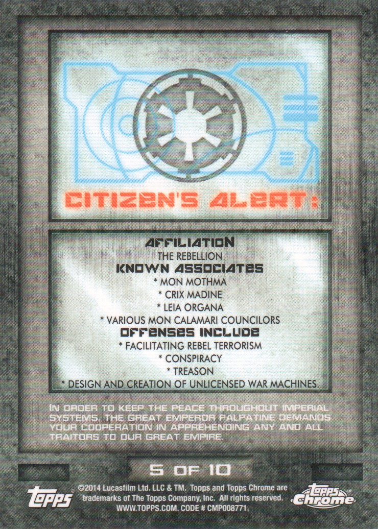 2014-Topps-Star-Wars-Chrome-Perspectives-Inserts-Trading-Cards-Pick-From-List miniature 11