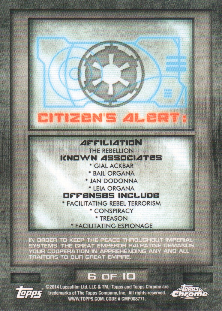 2014-Topps-Star-Wars-Chrome-Perspectives-Inserts-Trading-Cards-Pick-From-List miniature 13