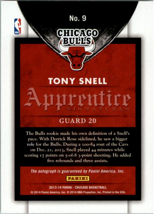 2013-14 Panini Crusade Apprentice Signatures #9 Tony Snell back image