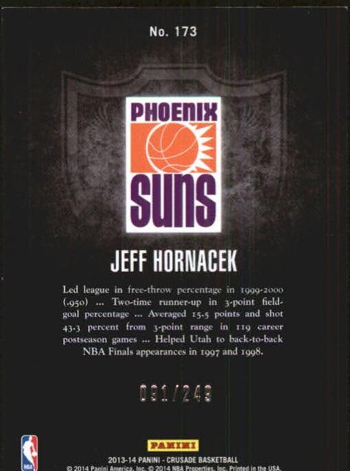 2013-14 Panini Crusade Insert Teal #173 Jeff Hornacek back image