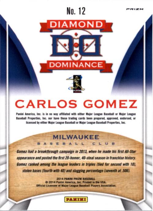 2014 Panini Prizm Diamond Dominance Prizms #12 Carlos Gomez back image
