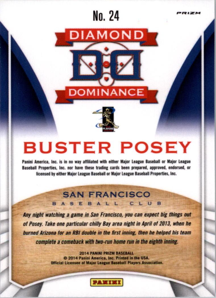 2014 Panini Prizm Diamond Dominance Prizms #24 Buster Posey back image