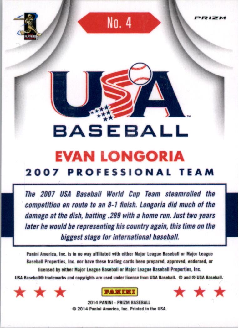 2014 Panini Prizm USA Baseball Prizms #4 Evan Longoria back image