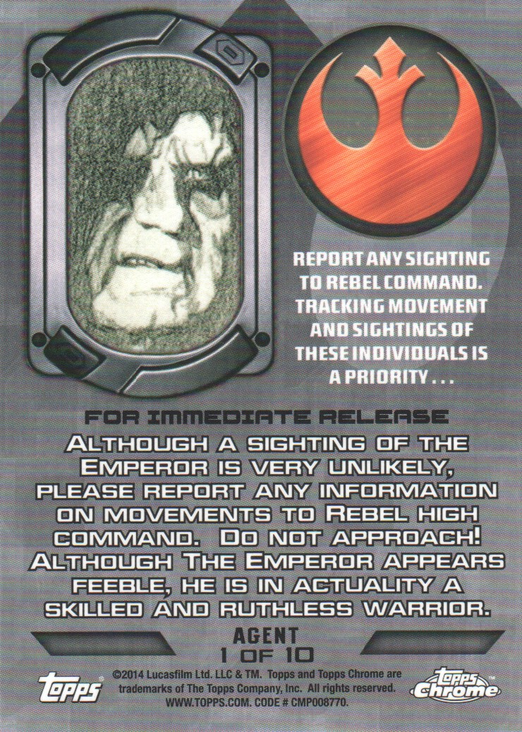 2014-Topps-Star-Wars-Chrome-Perspectives-Inserts-Trading-Cards-Pick-From-List miniature 49