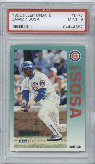 1992 Fleer Update Baseball #U-77 Sammy Sosa Chicago CUBS PSA Mint 9 1st Cubs UNIFORM!!!