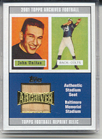 2001 Topps Archives Relic Seats #ASJU Johnny Unitas