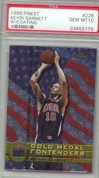 1999/00 Topps Finest Basketball #226 Kevin Garnett PSA GEM MINT 10 Team USA