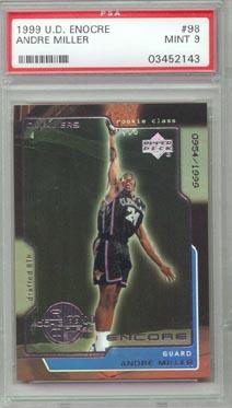 1999/00 Upper Deck Encore Basketball #98 Andre Miller ROOKIE PSA MINT 9 LIMITED!