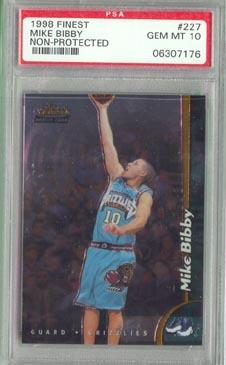 1998/99 Topps Finest Basketball #227 Mike Bibby No-Pro Rookie PSA Gem Mint 10