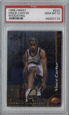 1998-99 Topps Finest Basketball #230 Vince Carter ROOKIE w/coating PSA GEM MINT 10 AWESOME!!