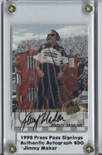 1998 Press Pass Signings #30 Jimmy Makar/Press Pass Premium/VIP