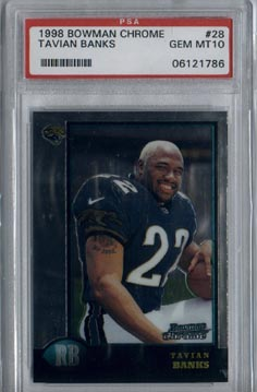 1998 Bowman Chrome Football #28 Tavian Banks ROOKIE PSA Gem Mint 10 Jacksonville JAGUARS BEAUTIFUL!!