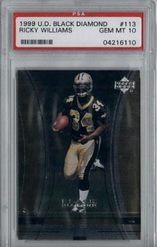 1999 Upper Deck Black Diamond Football #113 Ricky Williams Rookie Saints PSA Gem Mint 10