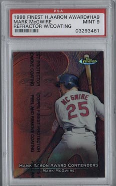 1999 Topps Finest Baseball #HA9 Mark McGwire Hank Aaron Contender Refractor PSA MINT 9 BEAUTIFUL!!