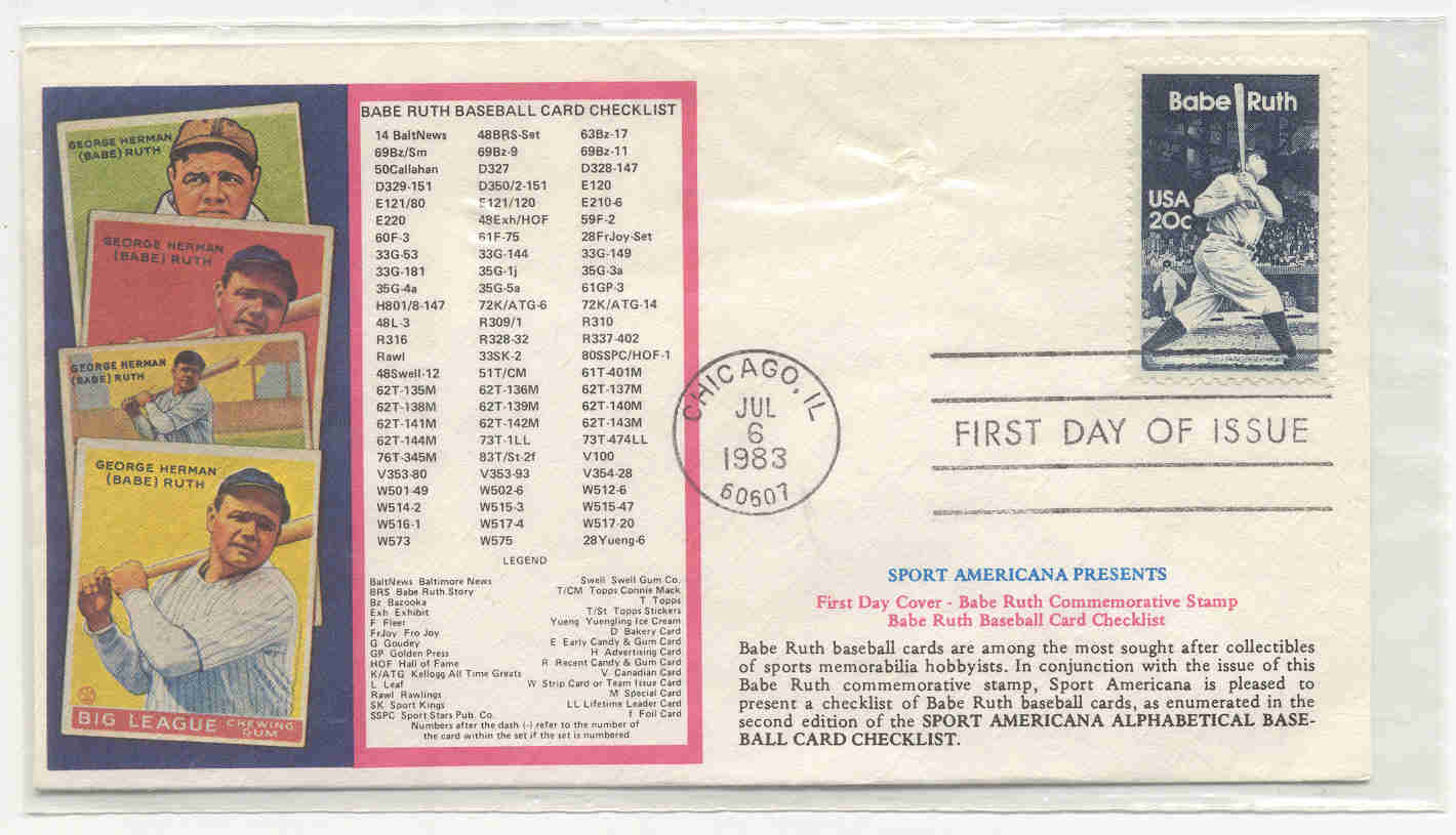 1983 Babe Ruth First Day Issue Stamp, Checklist
