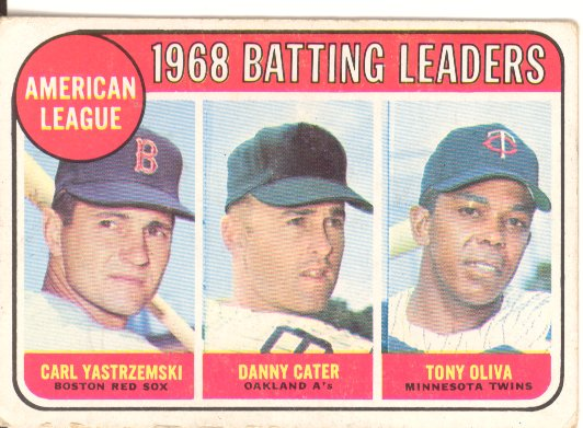 1969 Topps #1 AL Batting Leaders/Carl Yastrzemski/Danny Cater/Tony Oliva