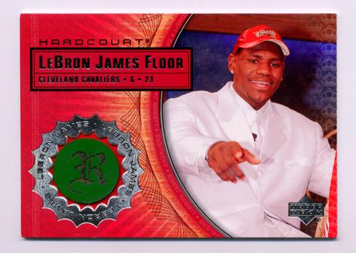 2003-04 Upper Deck Hardcourt LeBron James Floor #LB4 LeBron James/White Suit Red Hat
