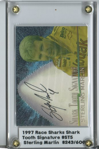 1997 Race Sharks Shark Tooth Signatures #ST5 Sterling Marlin/600