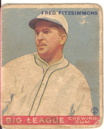 1933 Goudey #130 Fred Fitzsimmons POR RC