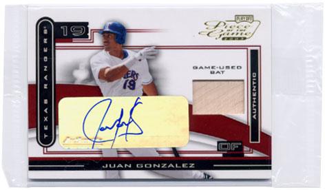 2003 Playoff Piece of the Game Autographs #51A Juan Gonzalez Bat/50