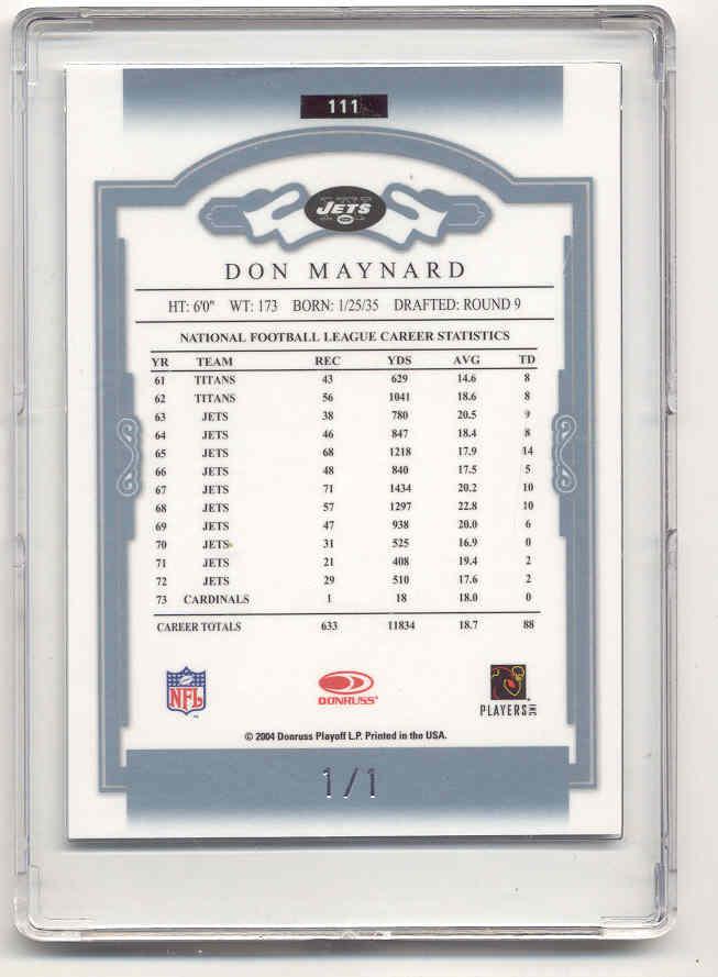 2004 Donruss Classics Timeless Tributes Platinum #111 Don Maynard