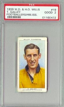 1939 W.D. & H.O. Wills  T. Galley  Footballers PSA Good 2 NICE!