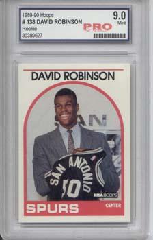 David Robinson, 89-90 Hoops Rookie Card Graded 9