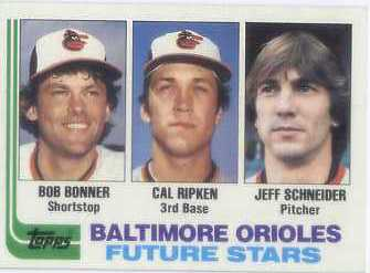1982 Topps #21 Bob Bonner RC/Cal Ripken RC/Jeff Schneider RC/Birthdate for Jeff Scheider is wrong