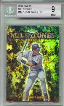 1999 Topps Finest Baseball #M8 Alex Rodriguez Finest Milestones #1672/3000 BGS MINT 9 LIMITED!
