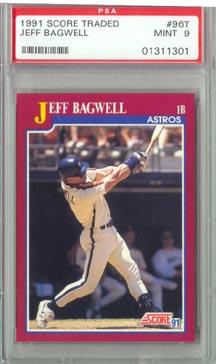 1991 Score Traded Baseball #96T Jeff Bagwell Rookie PSA Mint 9 NICE!