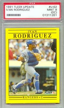 1991 Fleer Baseball #U-62 Ivan Rodriguez Update ROOKIE PSA Mint 9 NICE! Texas RANGERS