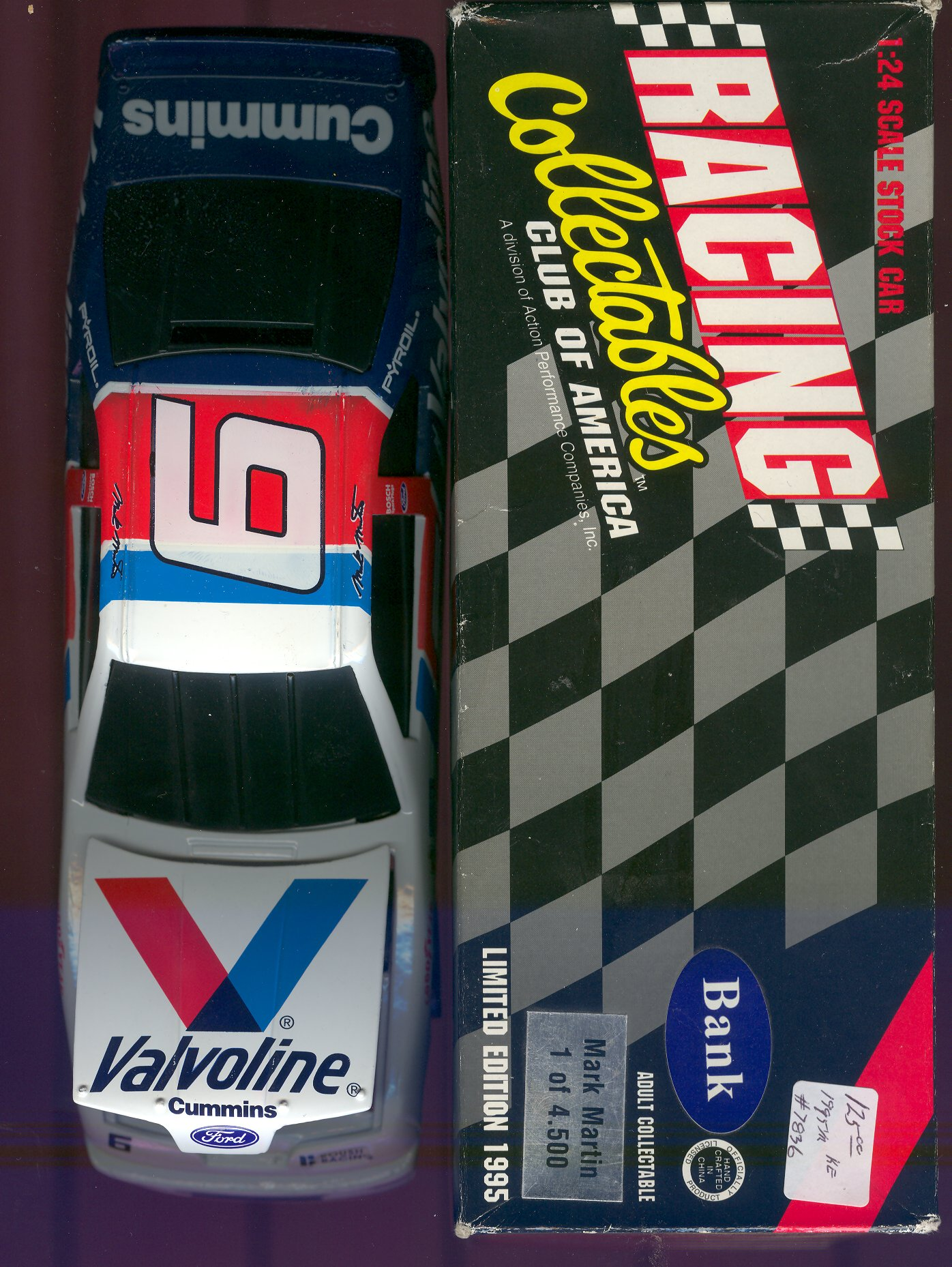 1995 Action/RCCA 1:24 #6 M.Martin/Valvoline Bank/4500