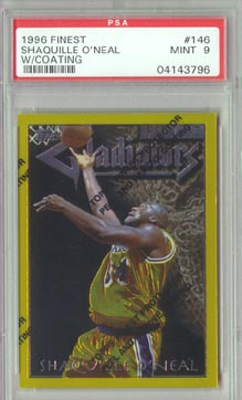 1996-97 Topps Finest Basketball #146 SHAQUILLE O'NEAL Gladiators Gold Rare PSA MINT 9 NICE!!