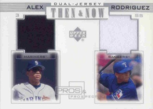 2001 Upper Deck Pros and Prospects Then and Now Game Jersey #TNAR Alex Rodriguez