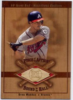 2001 SP Game Bat Milestone Piece of Action Bound for the Hall #BGM Greg Maddux