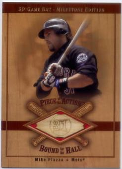 2001 SP Game Bat Milestone Piece of Action Bound for the Hall #BMP Mike Piazza