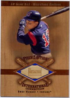 2001 SP Game Bat Milestone Piece of Action International #IOV Omar Vizquel *