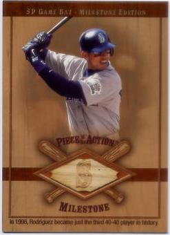 2001 SP Game Bat Milestone Piece of Action Milestone #AR Alex Rodriguez Mariners