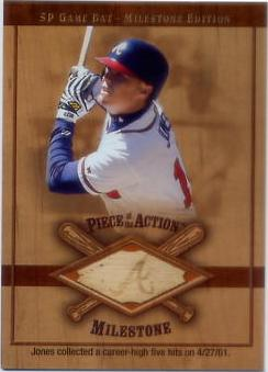 2001 SP Game Bat Milestone Piece of Action Milestone #CHJ Chipper Jones